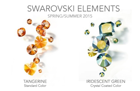 Swarovski Spring/Summer 2015 colors, Tangerine and Iridescent Green, available now at Rhinestones Unlimited