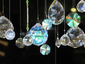 Crystal diamonds hanging glass