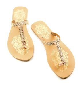 Golden birds and strass flip flop sandals